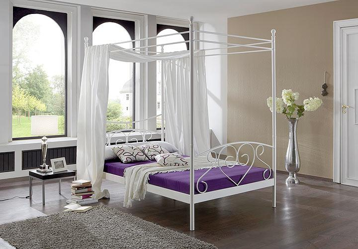metallbett lisa himmel bett in wei neu b 120cm ebay. Black Bedroom Furniture Sets. Home Design Ideas