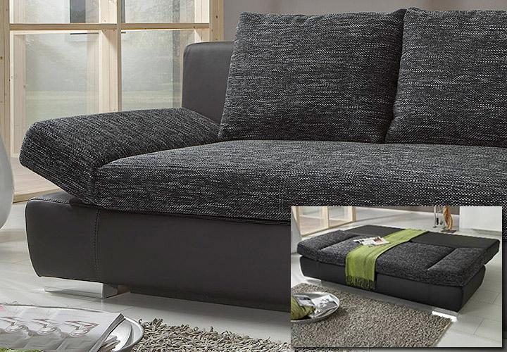 schlafsofa joker sofa schwarz mit bettkasten und chromf en. Black Bedroom Furniture Sets. Home Design Ideas