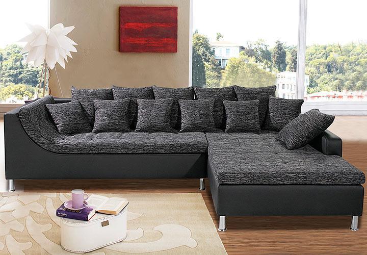 wohnlandschaft montego mit ottomane in schwarz und anthrazit inkl 6 kissen ebay. Black Bedroom Furniture Sets. Home Design Ideas