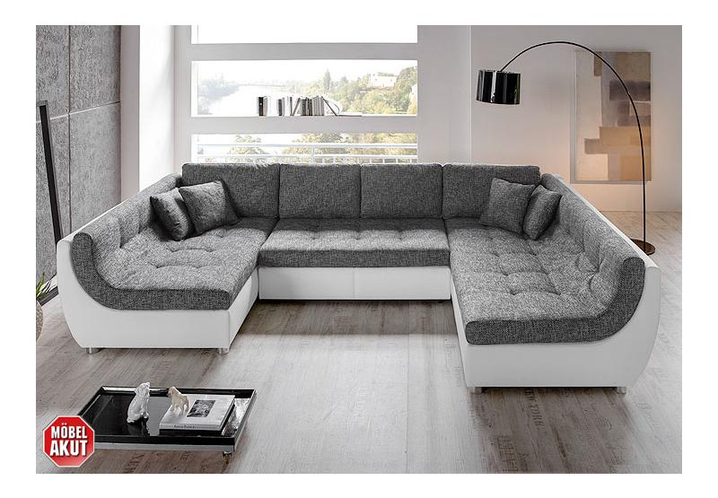 wohnlandschaft melo sofa in anthrazit wei bettfunktion neu ebay. Black Bedroom Furniture Sets. Home Design Ideas