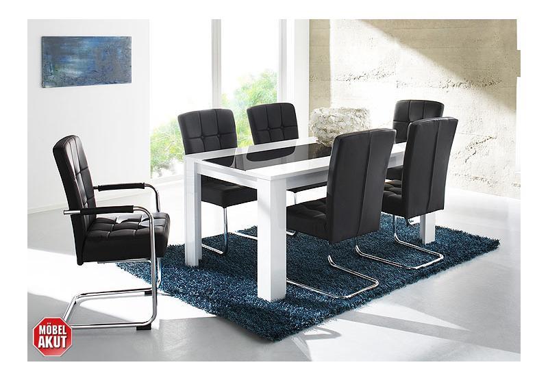 esstisch buno tisch in wei hochglanz schwarz glas 160x90 ebay. Black Bedroom Furniture Sets. Home Design Ideas