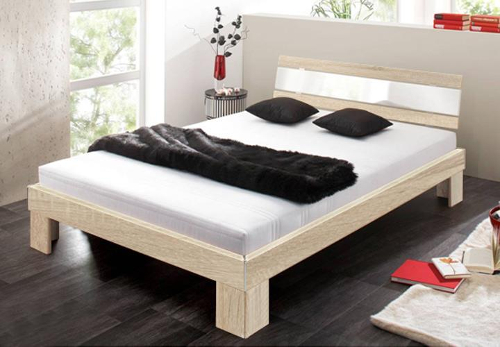 futonbett gino 140 cm sonoma eiche s gerau wei hochglanz. Black Bedroom Furniture Sets. Home Design Ideas