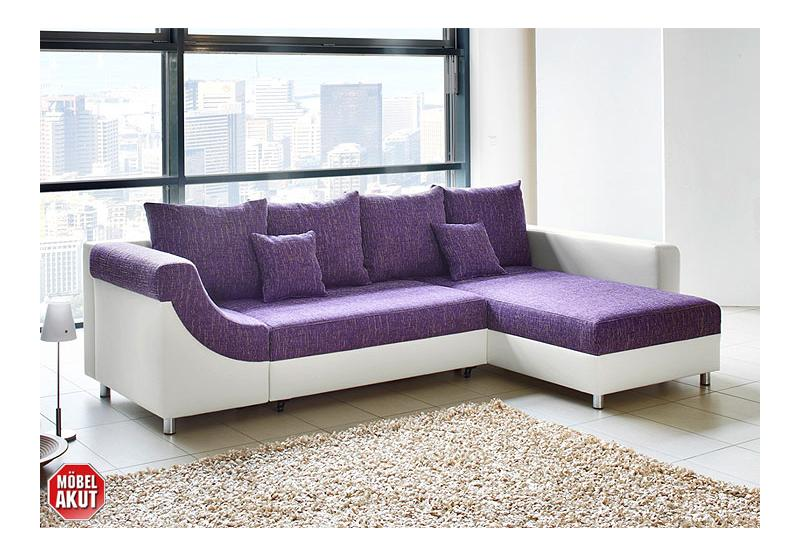 Wohnlandschaft novaro sofa ecksofa in wei lila neu for Wohnlandschaft lila