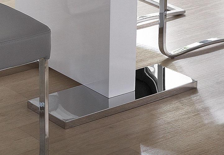 Esstisch Pamela Weiß ~ Esstisch PAMELA Weiß Hochglanz Lack Edelstahl 120(160)x80
