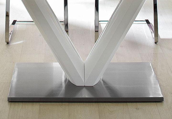 Esstisch Vanessa Poco ~ Esstisch VANESSA 160×90 weiß hochglanz Edelstahl ausziehbar