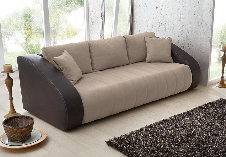 schlafsofa grino funktionssofa sofa in braun und hellbraun. Black Bedroom Furniture Sets. Home Design Ideas