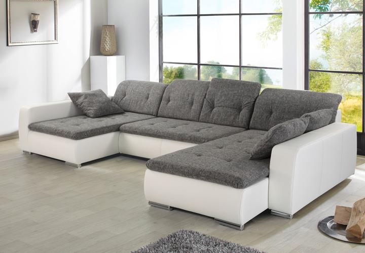 wohnlandschaft ferrara sofa ecksofa wei und grau ebay. Black Bedroom Furniture Sets. Home Design Ideas