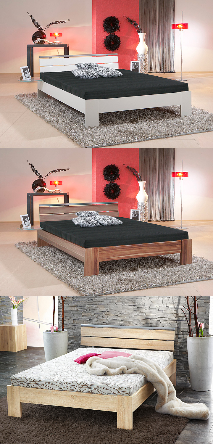 bett sleep sonoma eiche inkl rollrost und matratze 140x200. Black Bedroom Furniture Sets. Home Design Ideas