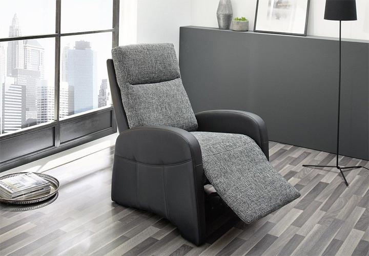 tv sessel marcel fernsehsessel in schwarz und stoff grau ebay. Black Bedroom Furniture Sets. Home Design Ideas