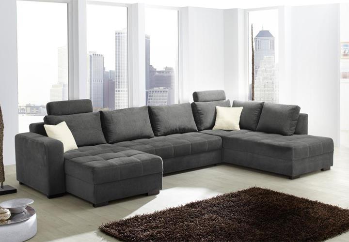 wohnlandschaft antego mit g stebettfunktion microfaser grau. Black Bedroom Furniture Sets. Home Design Ideas
