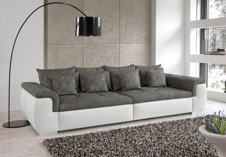 big sofa big point sofa weiss webstoff anthrazit ebay. Black Bedroom Furniture Sets. Home Design Ideas