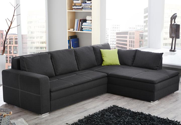 ecksofa domino stoff dunkelgrau mit bettfunktion. Black Bedroom Furniture Sets. Home Design Ideas