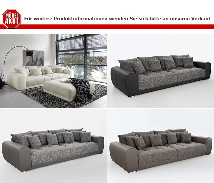 big sofa sam polsterm bel xxl sofa in wei grau und beige 310 cm ebay. Black Bedroom Furniture Sets. Home Design Ideas