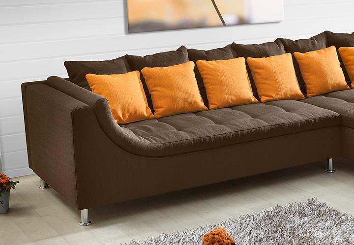 ecksofa montego mit ottomane feinstruktur braun. Black Bedroom Furniture Sets. Home Design Ideas