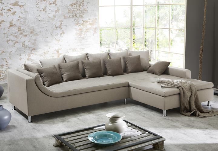 Wohnlandschaft montego sofa ecksofa mit ottomane for Wohnlandschaft cappuccino