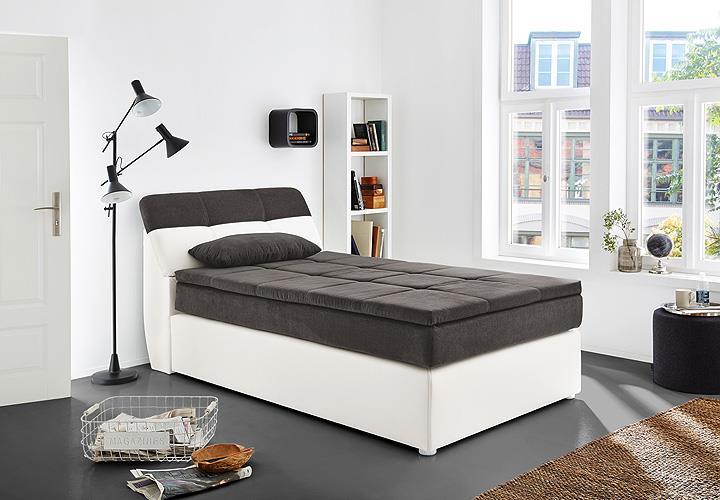 boxspringbett odessa bett in wei grau mit topper 120x200. Black Bedroom Furniture Sets. Home Design Ideas
