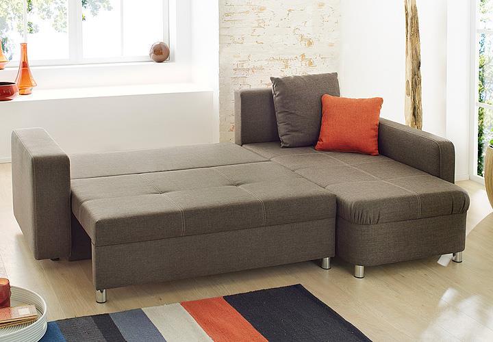 Wohnlandschaft lyon sofa ecksofa schlaffunktion in braun for Wohnlandschaft zum schlafen
