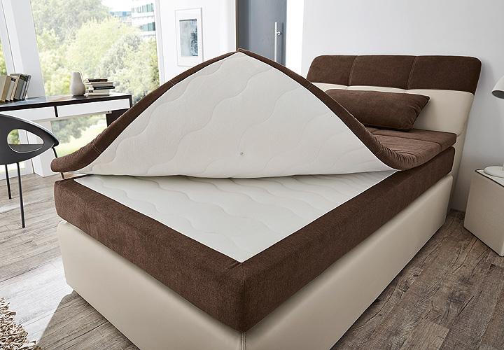 Boxspringbett ODESSA Bett in greige braun mit Topper 120×200