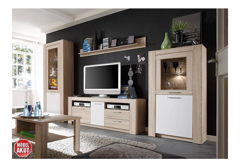 wohnwand tablo ii anbauwand wohnzimmer in sonoma eiche s gerau wei ebay. Black Bedroom Furniture Sets. Home Design Ideas