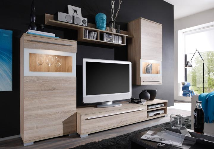 wohnwand lambo anbauwand eiche sonoma und lack wei neu ebay. Black Bedroom Furniture Sets. Home Design Ideas