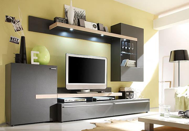 wohnwand pizzi schwarz braun sonoma eiche s gerau inkl led. Black Bedroom Furniture Sets. Home Design Ideas