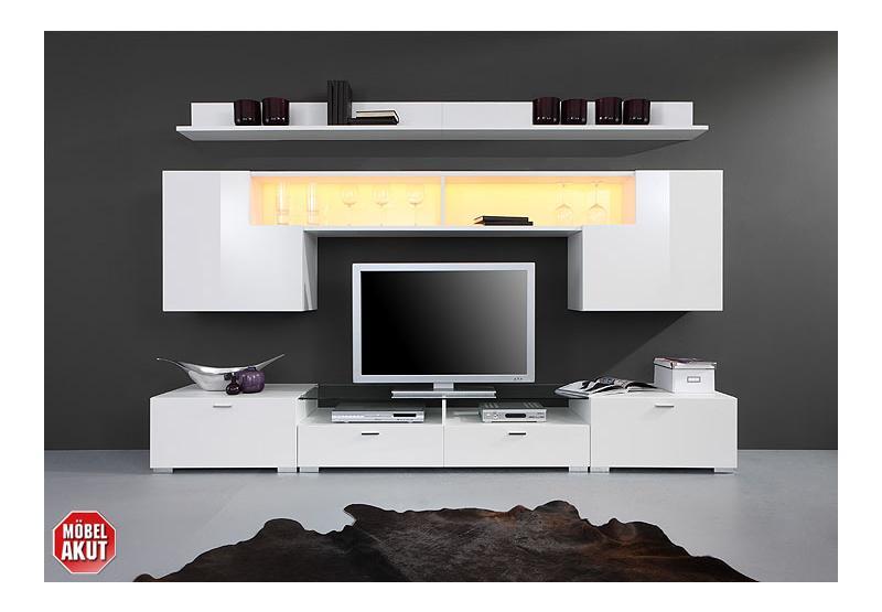 iron wohnwand wei wei hochglanz. Black Bedroom Furniture Sets. Home Design Ideas