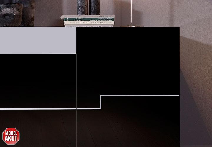 Twin Wohnwand Weiß : Sideboard TWIN Schwarz Weiß Hochglanz Lack