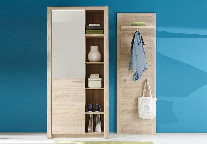 terian garderoben set ii sonoma eiche s gerau mit spiegel. Black Bedroom Furniture Sets. Home Design Ideas