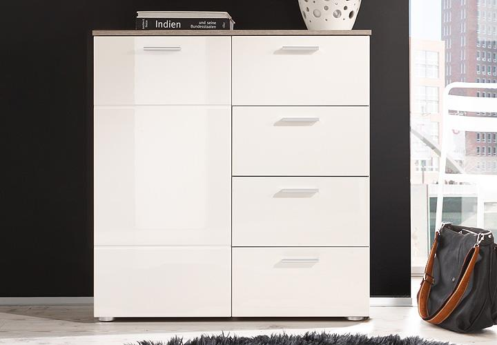 kommode 2 shadow schrank in eiche tr ffel magnolie creme hochglanz tiefzieh ebay. Black Bedroom Furniture Sets. Home Design Ideas