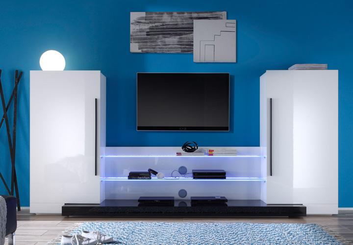 wohnwand twin wohnzimmer anbauwand in wei hochglanz lack ebay. Black Bedroom Furniture Sets. Home Design Ideas