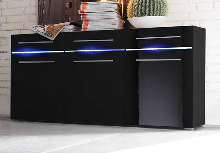 sideboard flash schwarz hochglanz inkl led beleuchtung. Black Bedroom Furniture Sets. Home Design Ideas