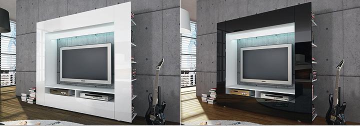tv wohnwand medienwand olli in hochglanz schwarz. Black Bedroom Furniture Sets. Home Design Ideas