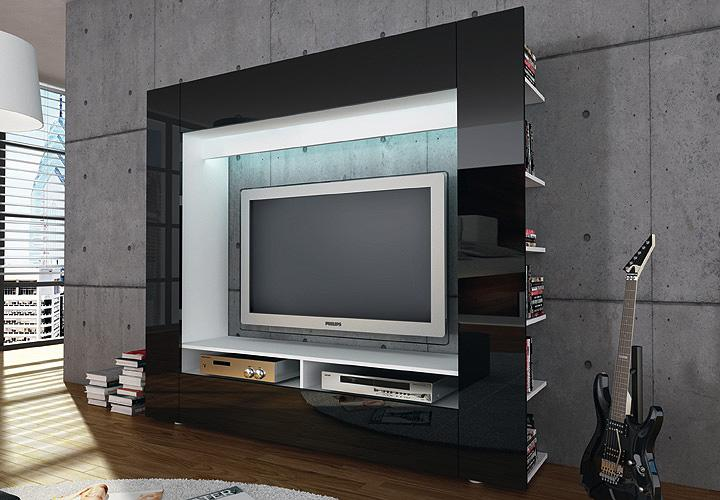 tv medienwand olli wohnwand front in hochglanz schwarz ebay. Black Bedroom Furniture Sets. Home Design Ideas