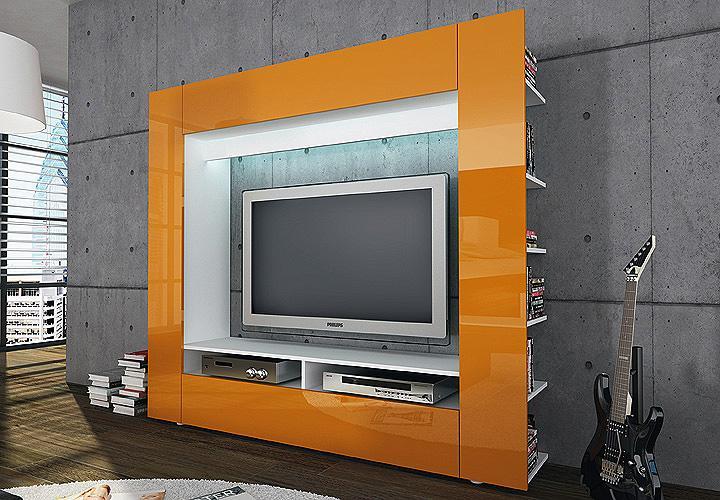 tv medienwand olli wohnwand orange hochglanz inkl led beleuchtung ebay. Black Bedroom Furniture Sets. Home Design Ideas