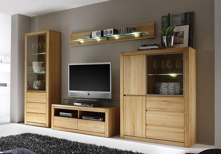 wohnwand 3 ponto kernbuche teilmassiv ge lt und gewachst. Black Bedroom Furniture Sets. Home Design Ideas