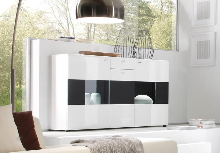 sideboard 2c hochglanz wei quadro black mit glasfront. Black Bedroom Furniture Sets. Home Design Ideas
