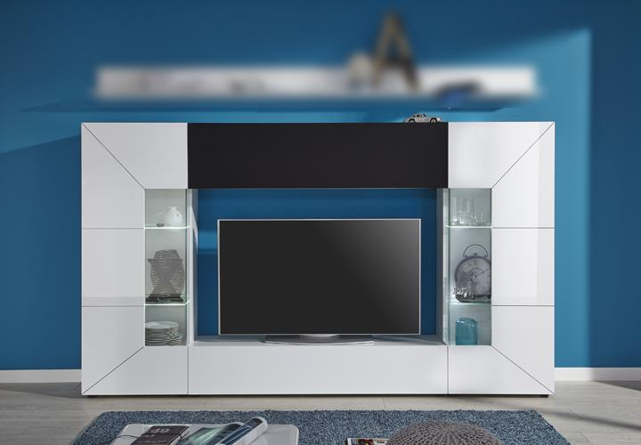 wohnwand tv medienwand anbauwand scaleo z4 wei hochglanz inkl led akustiksoff ebay. Black Bedroom Furniture Sets. Home Design Ideas