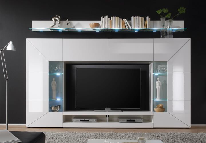 wohnwand mediawand 2e mit wandboard front hochglanz wei. Black Bedroom Furniture Sets. Home Design Ideas