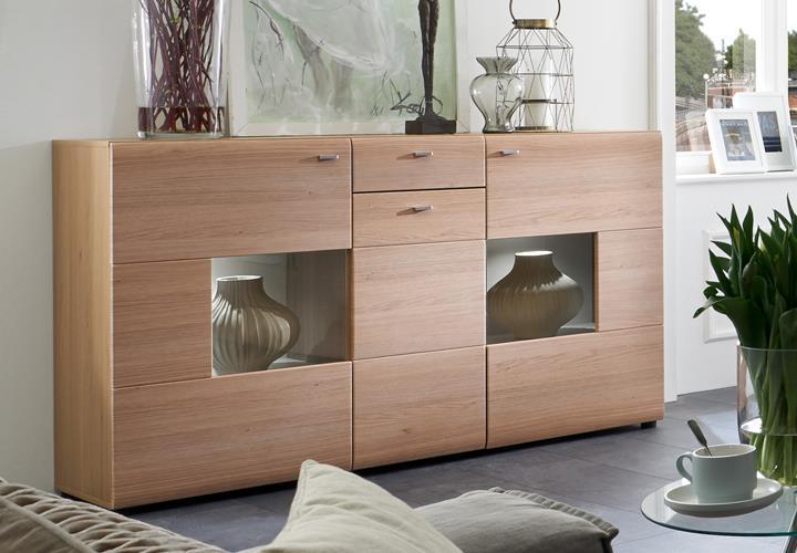 sideboard 2f eiche bianco mit glasfront. Black Bedroom Furniture Sets. Home Design Ideas
