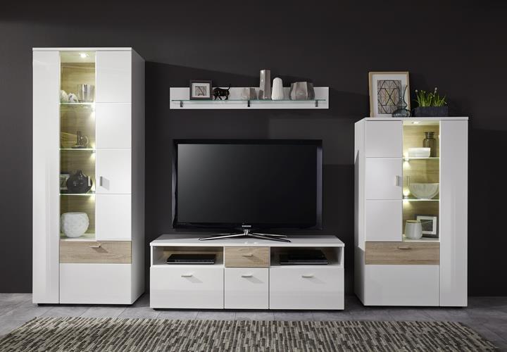 wohnwand 2k wohnkombination 2 hochglanz wei eiche sonoma. Black Bedroom Furniture Sets. Home Design Ideas