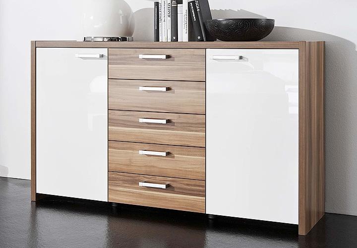 sideboard solo kommode anrichte in wei hochglanz nussbaum ebay. Black Bedroom Furniture Sets. Home Design Ideas