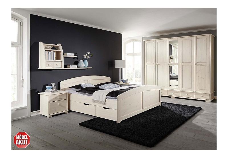 alborg 8 tlg schlafzimmerset kiefer massiv wei. Black Bedroom Furniture Sets. Home Design Ideas