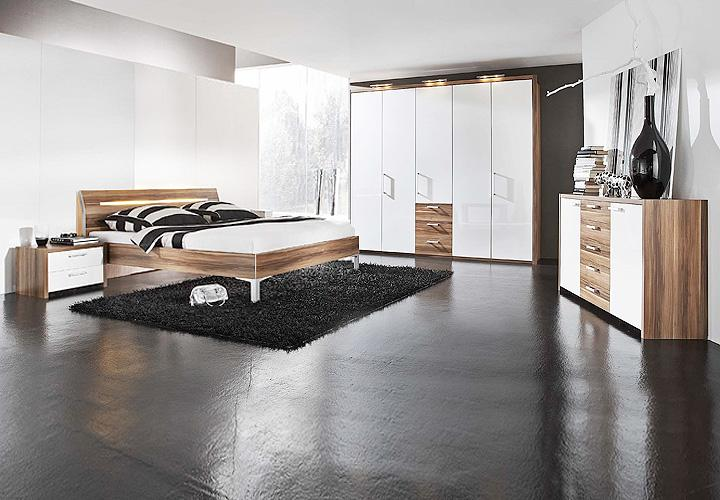 4 tlg schlafzimmer set solo bett schrank kommode wei hochglanz nussbaum ebay. Black Bedroom Furniture Sets. Home Design Ideas
