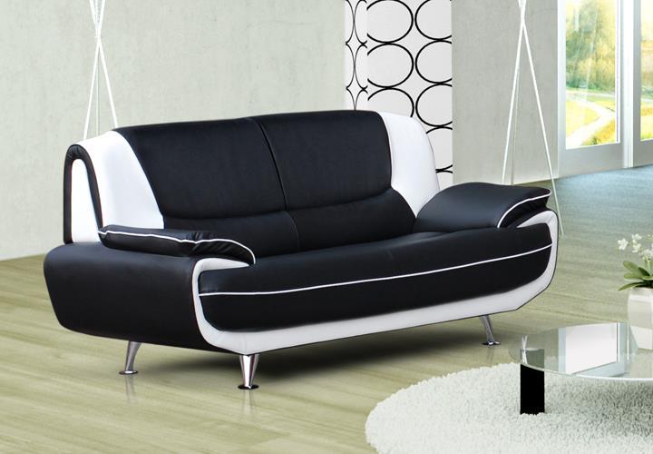 sofa palermo 3 sitzer in schwarz und wei mit metallf en. Black Bedroom Furniture Sets. Home Design Ideas