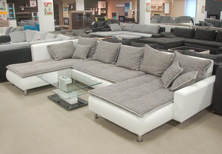 wohnlandschaft cado lederlook wei webstoff grau. Black Bedroom Furniture Sets. Home Design Ideas