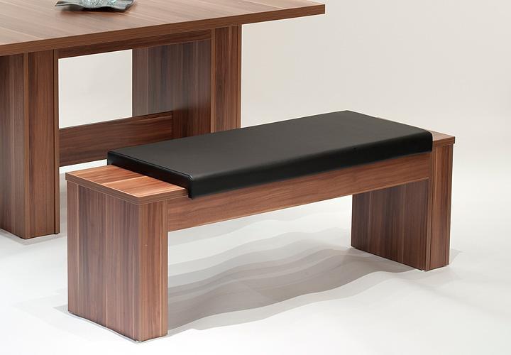bank luis sitzbank holzbank in walnuss schwarz. Black Bedroom Furniture Sets. Home Design Ideas