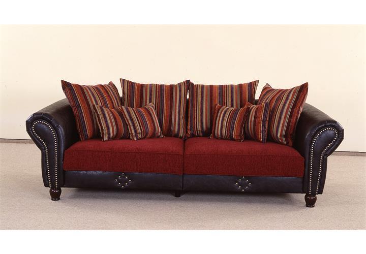 big sofa carlos lederlook dunkel braun und dunkel rot. Black Bedroom Furniture Sets. Home Design Ideas