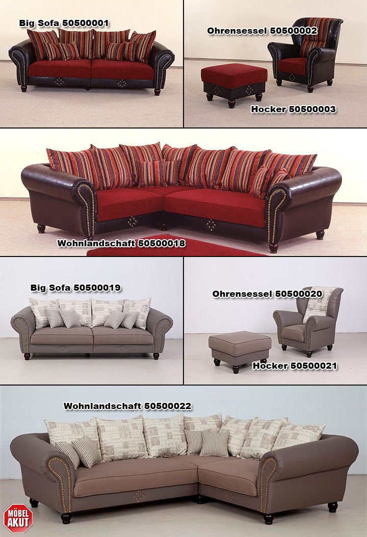 big sofa carlos lederlook dunkel braun dunkel rot ebay. Black Bedroom Furniture Sets. Home Design Ideas