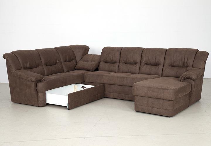 wohnlandschaft orion stoff dunkel braun mit funktion. Black Bedroom Furniture Sets. Home Design Ideas