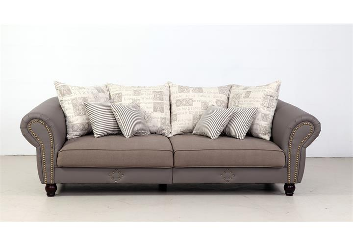 big sofa carlos lederlook taupe webstoff beige grau. Black Bedroom Furniture Sets. Home Design Ideas